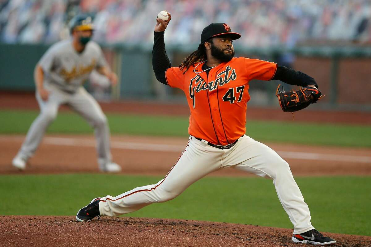 San Francisco Giants starting pitcher Johnny Cueto (47) in the top of the third inning against the Oakland Athletics during an MLB game at Oracle Park on Friday, Aug. 14, 2020, in San Francisco, Calif.