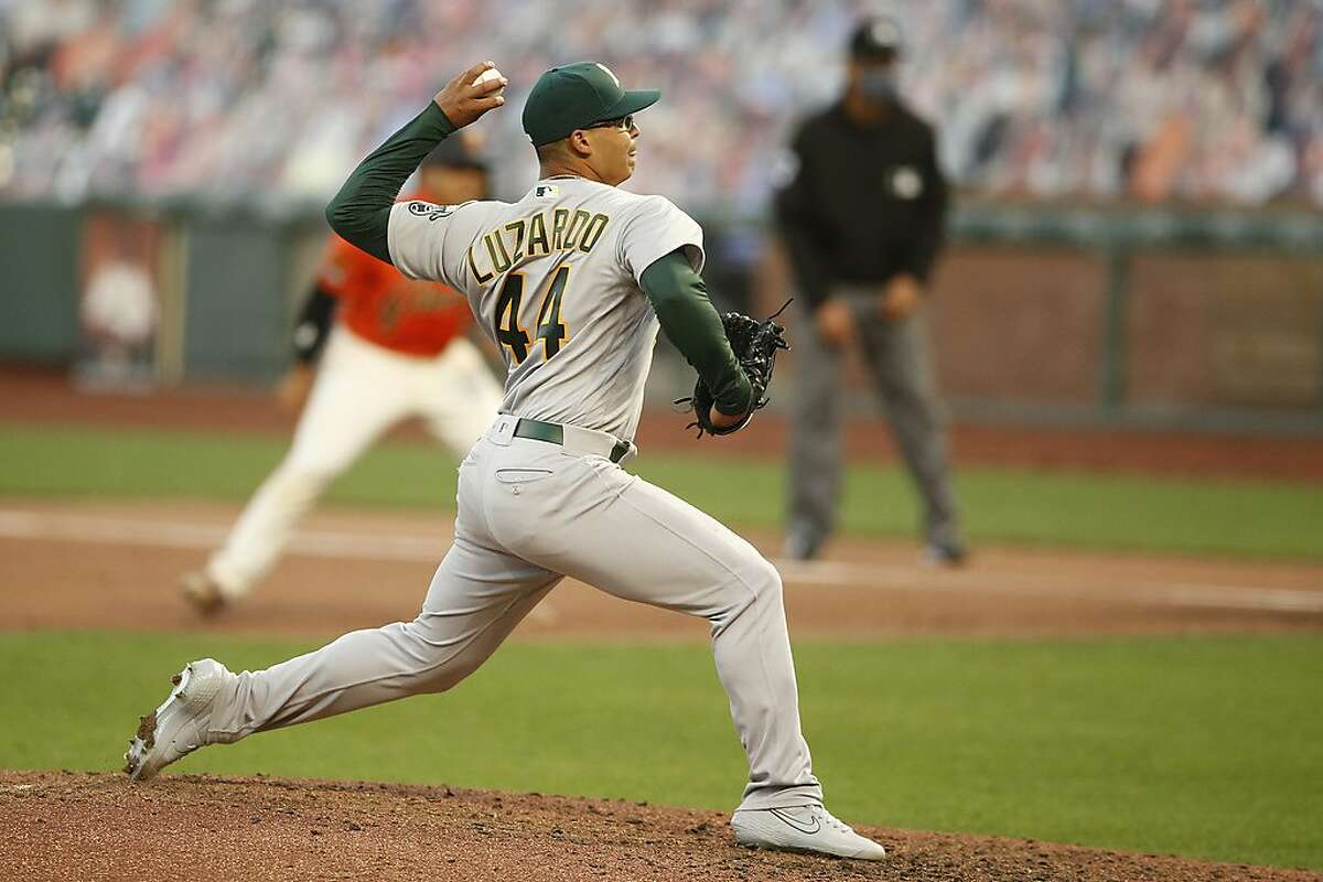 Oakland Athletics starting pitcher Jesus Luzardo (44) in the bottom of the fourth inning against the San Francisco Giants during an MLB game at Oracle Park on Friday, Aug. 14, 2020, in San Francisco, Calif.