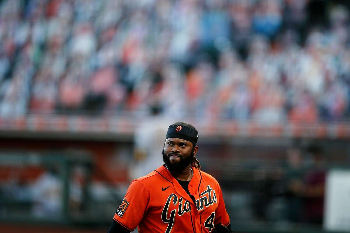 San Francisco Giants starting pitcher Johnny Cueto (47) after the top of the second inning against the Oakland Athletics in an MLB game at Oracle Park on Friday, Aug. 14, 2020, in San Francisco, Calif.