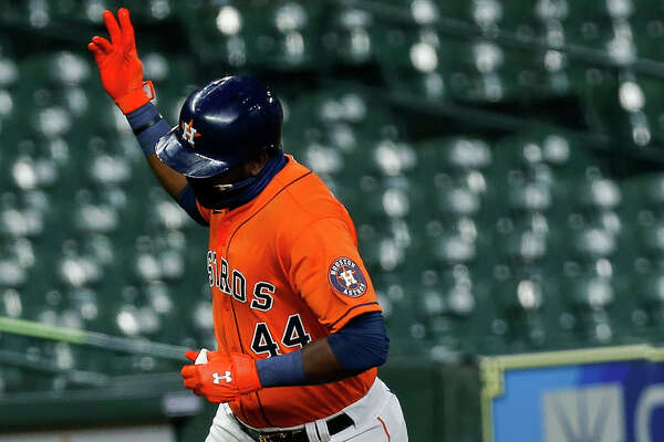 Houston Astros designated hitter Yordan Alvarez (44) rounds the bases after hitting a three-run home run against the Seattle Mariners during the first inning of the MLB game at Minute Maid Park on Friday, Aug. 14, 2020, in Houston.