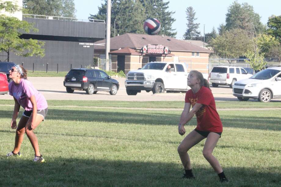 Reed City's volleyball team started its practices outdoors on Wednesday. Photo: John Raffel