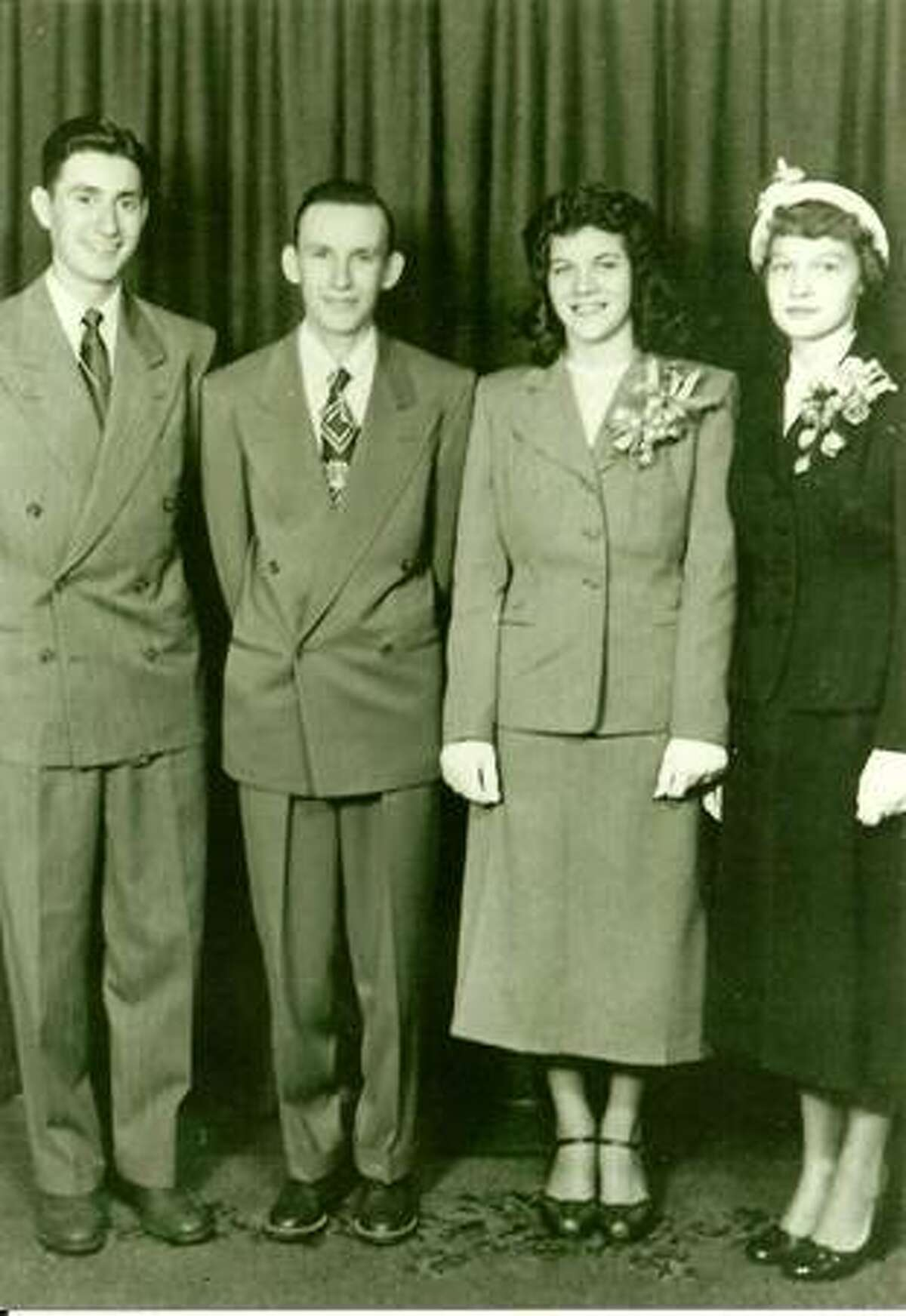 From left, Robert Landolt, best man; Don and Pat Hastings; bridesmaid Ellen Bucheim.