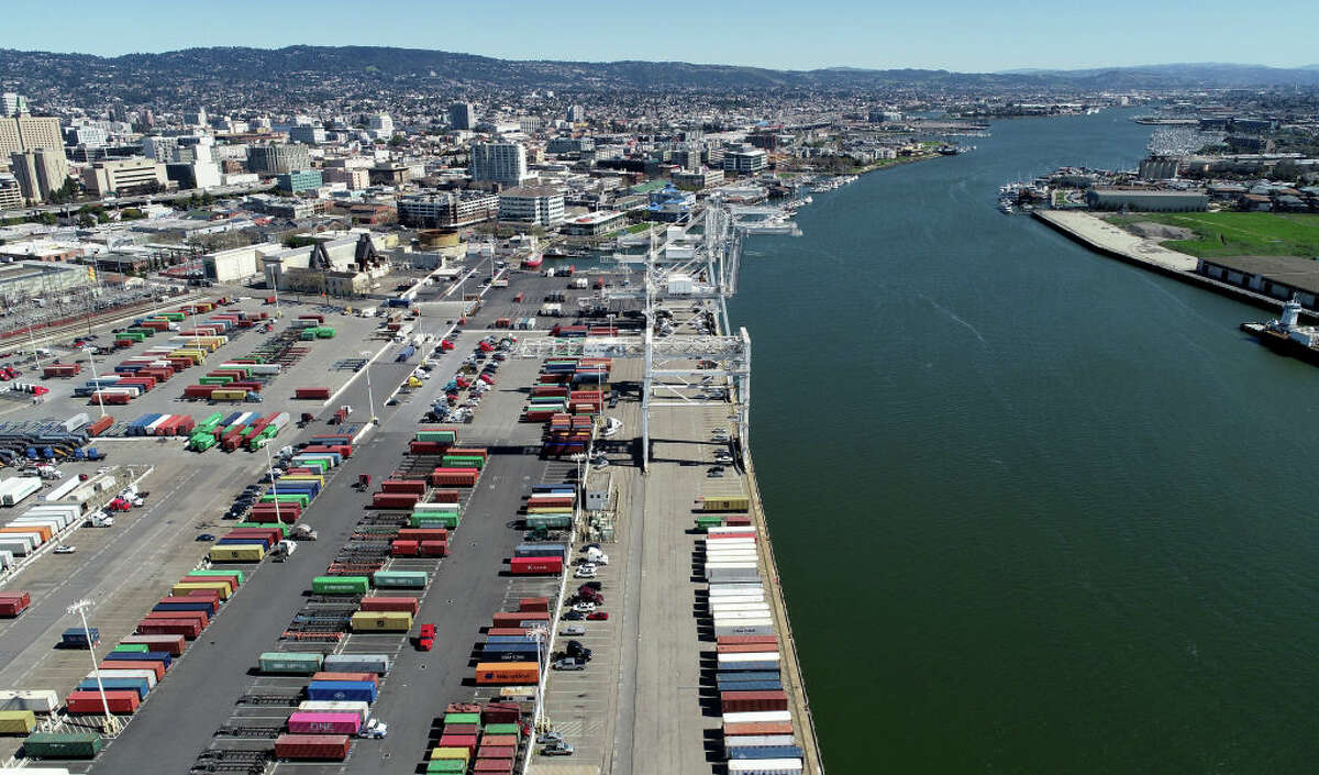 FILE - Howard Terminal and the Oakland Estuary are seen from this drone view in Oakland, Calif., on Wednesday, March 13, 2019. Raw sewage spilled into the estuary after a power outage Friday night.