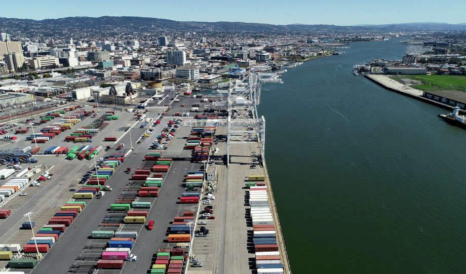 FILE - Howard Terminal and the Oakland Estuary are seen from this drone view in Oakland, Calif., on Wednesday, March 13, 2019. Raw sewage spilled into the estuary after a power outage Friday night. Photo: MediaNews Group/The Mercury News/MediaNews Group Via Getty Images / Bay Area News Group