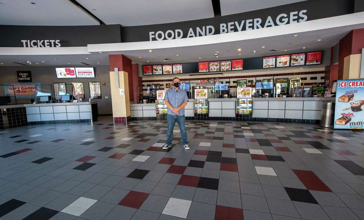 Joe Masher, chief operating officer at Bow Tie Cinemas and president of the National Association of Theater Owners, stands in the vacant lobby of Movieland 6 in Schenectady, NY, on Saturday, Aug. 15, 2020 (Jim Franco/special to the Times Union.)
