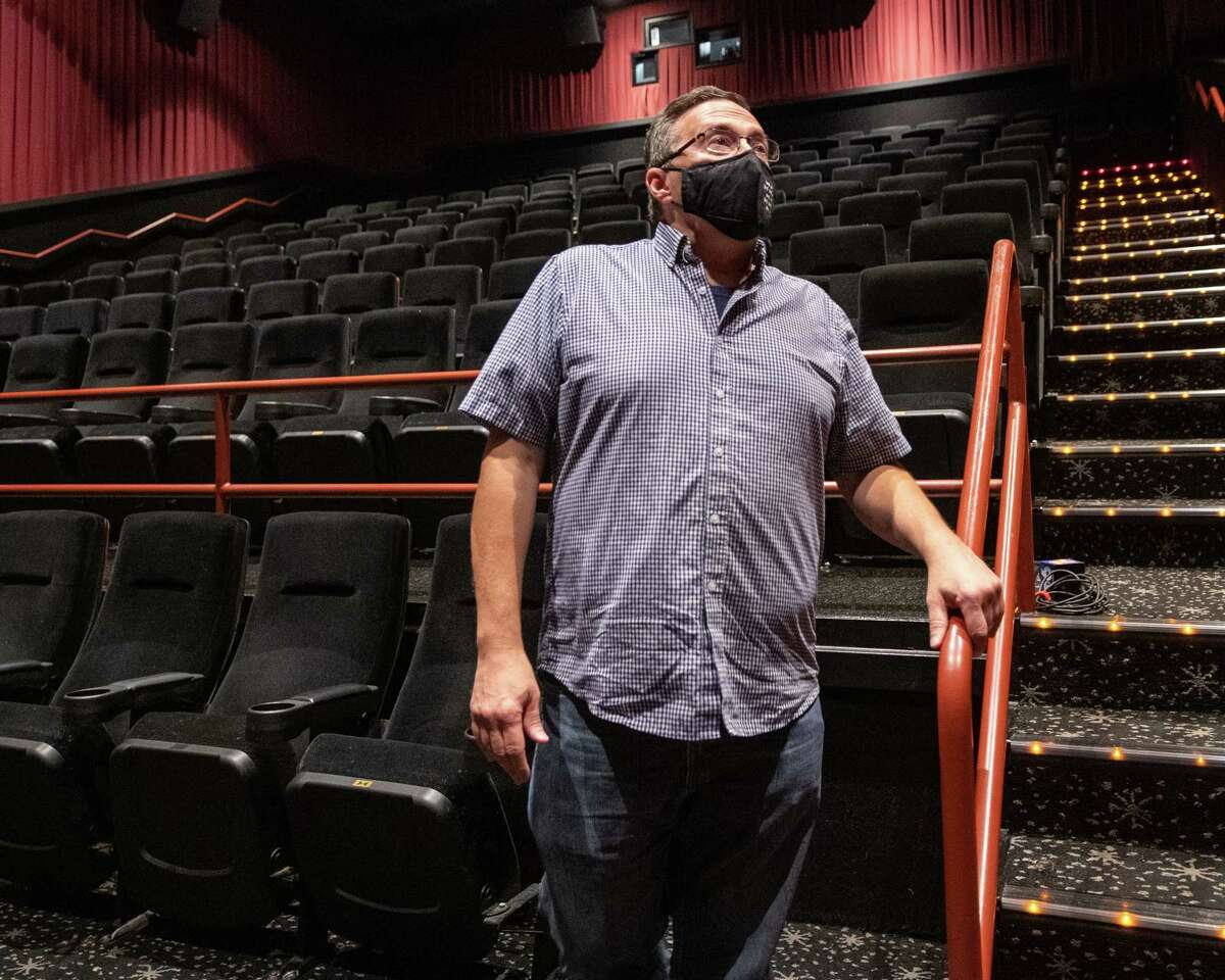 Joe Masher, chief operating officer at Bow Tie Cinemas and president of the National Association of Theater Owners, speaks about reopening while standing in an empty movie theater at Movieland 6 in Schenectady, NY, on Saturday, Aug. 15, 2020 (Jim Franco/special to the Times Union.)