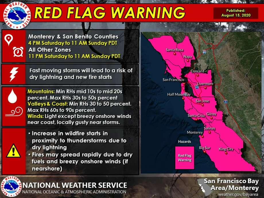 Red Flag Warning in the Bay Area on August 15, 2020. Photo: NWS Bay Area