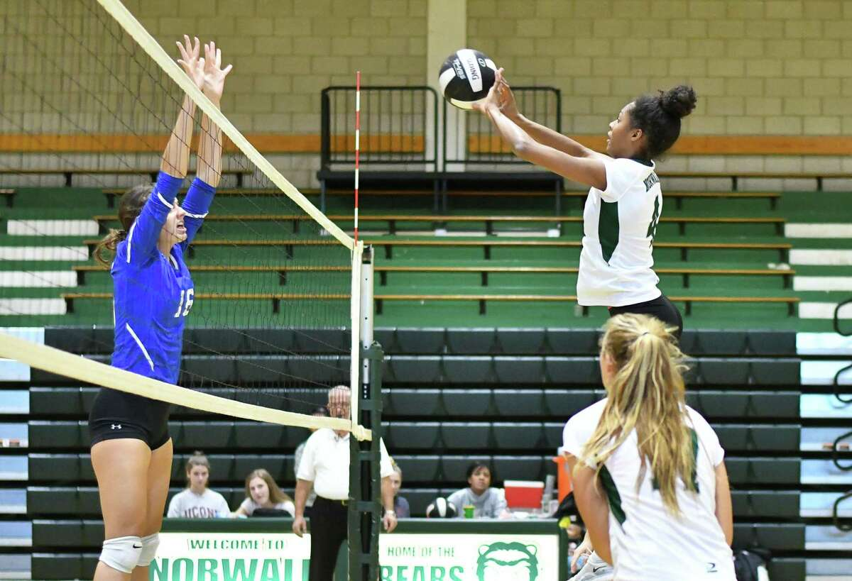 FCIAC girls volleyball action between the Norwalk Bears and the Fairfield Ludlowe Falcons played on Oct. 24, 2018 at Norwalk High School in Norwalk. There are plenty of logistics and challeges facing fall sports following a week of decisions from the CIAC, with more decisions to come.
