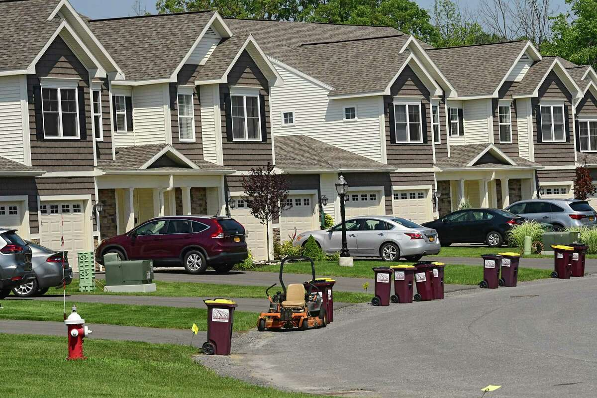 Exterior of condos at Canterbury Crossing on Tuesday, Aug. 11, 2020 in Latham, N.Y. (Lori Van Buren/Times Union)