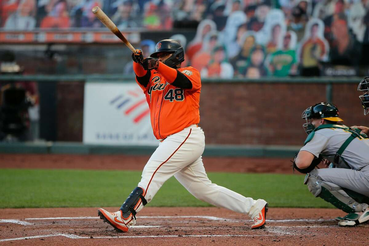 San Francisco Giants third baseman Pablo Sandoval (48) swings and misses in the bottom of the second inning during an MLB game against the Oakland Athletics at Oracle Park on Friday, Aug. 14, 2020, in San Francisco, Calif.