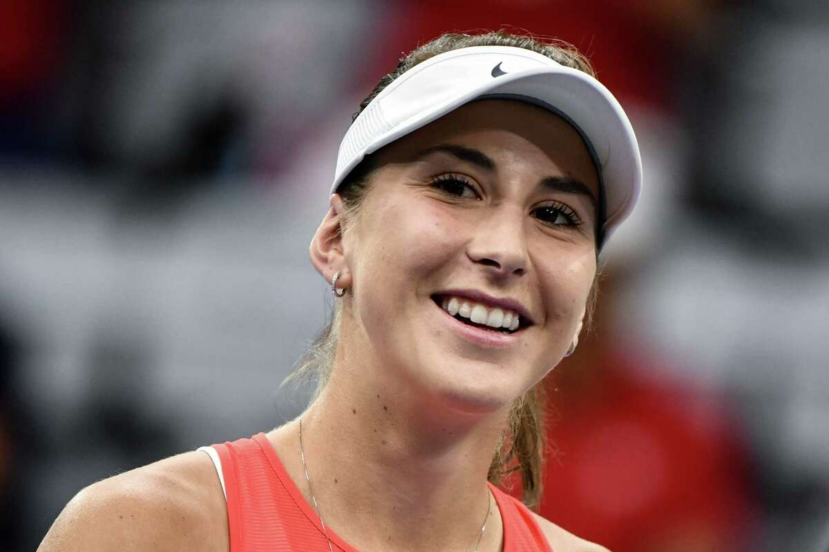Swiss player Belinda Bencic (WTA 8) smiles during her match against compatriot Jil Teichmann (WTA 63) during the Swiss Tennis Pro Cup exhibition tournament on July 25, 2020 in Biel. (Photo by Fabrice COFFRINI / AFP) (Photo by FABRICE COFFRINI/AFP via Getty Images)