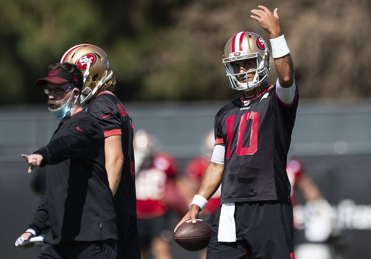 San Francisco 49ers quarterback Jimmy Garoppolo (10) runs drills during NFL Training Camp practice Saturday, Aug. 15, 2020, at the SAP Performance Facility in Santa Clara, Calif. (Xavier Mascarenas/The Sacramento Bee via AP)