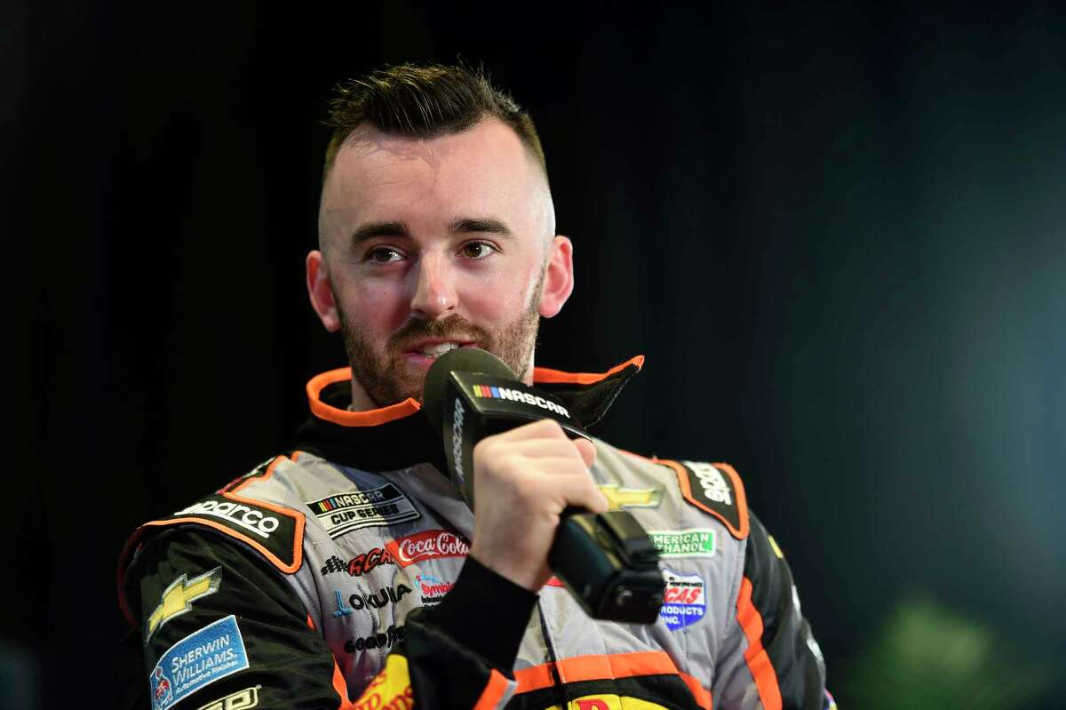 DAYTONA BEACH, FLORIDA - FEBRUARY 12: Austin Dillon, driver of the #3 Bass Pro Shops/Tracker OffRoad Chevrolet, speaks with the media during the NASCAR Cup Series 62nd Annual Daytona 500 Media Day at Daytona International Speedway on February 12, 2020 in Daytona Beach, Florida. (Photo by Jared C. Tilton/Getty Images)