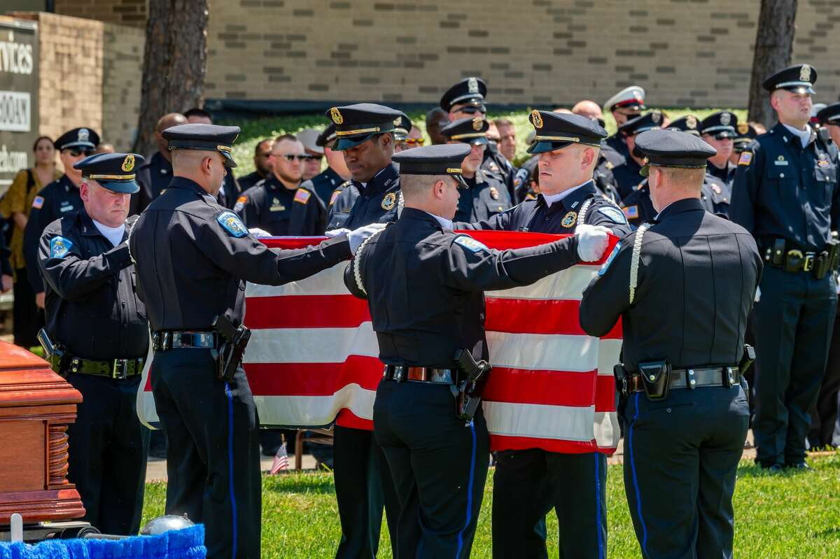 On Saturday morning, the life of Officer Sheena Yarbrough-Powell was honored as she was laid to rest with a police escort from Broussard's Mortuary to Calvary Baptist Church on Dowlen Road. Photo made on August 15, 2020. Fran Ruchalski/The Enterprise