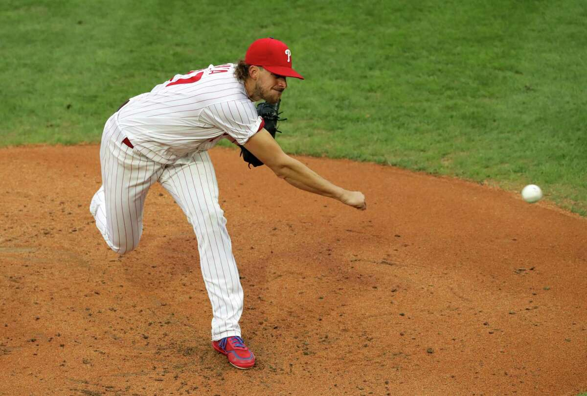 PHILADELPHIA, PA - AUGUST 15: Starting pitcher Aaron Nola #27 of the Philadelphia Phillies delivers a pitch in the second inning during a game against the New York Mets at Citizens Bank Park on August 15, 2020 in Philadelphia, Pennsylvania. (Photo by Hunter Martin/Getty Images)