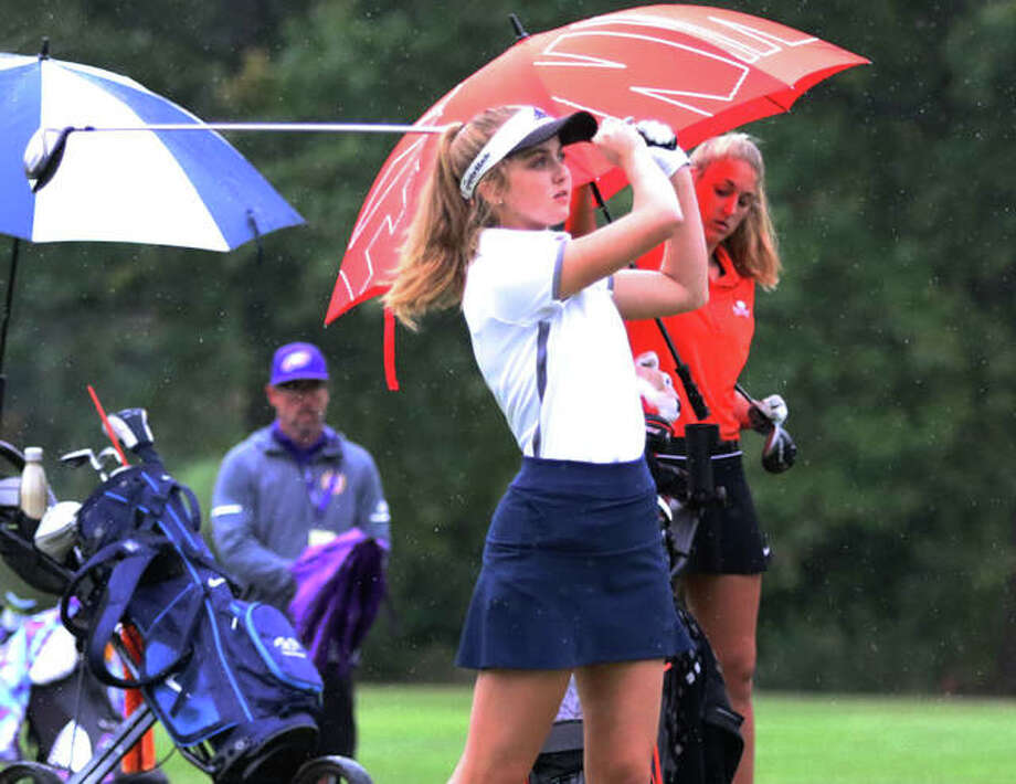 Father McGivney's Ellie Hyten watches her drive off the first hole last year in the Class 1A girls golf regional at Spencer T. Olin in Alton. Hyten shot 103 to advance to the sectional. Photo: Intelligencer Sports Staff