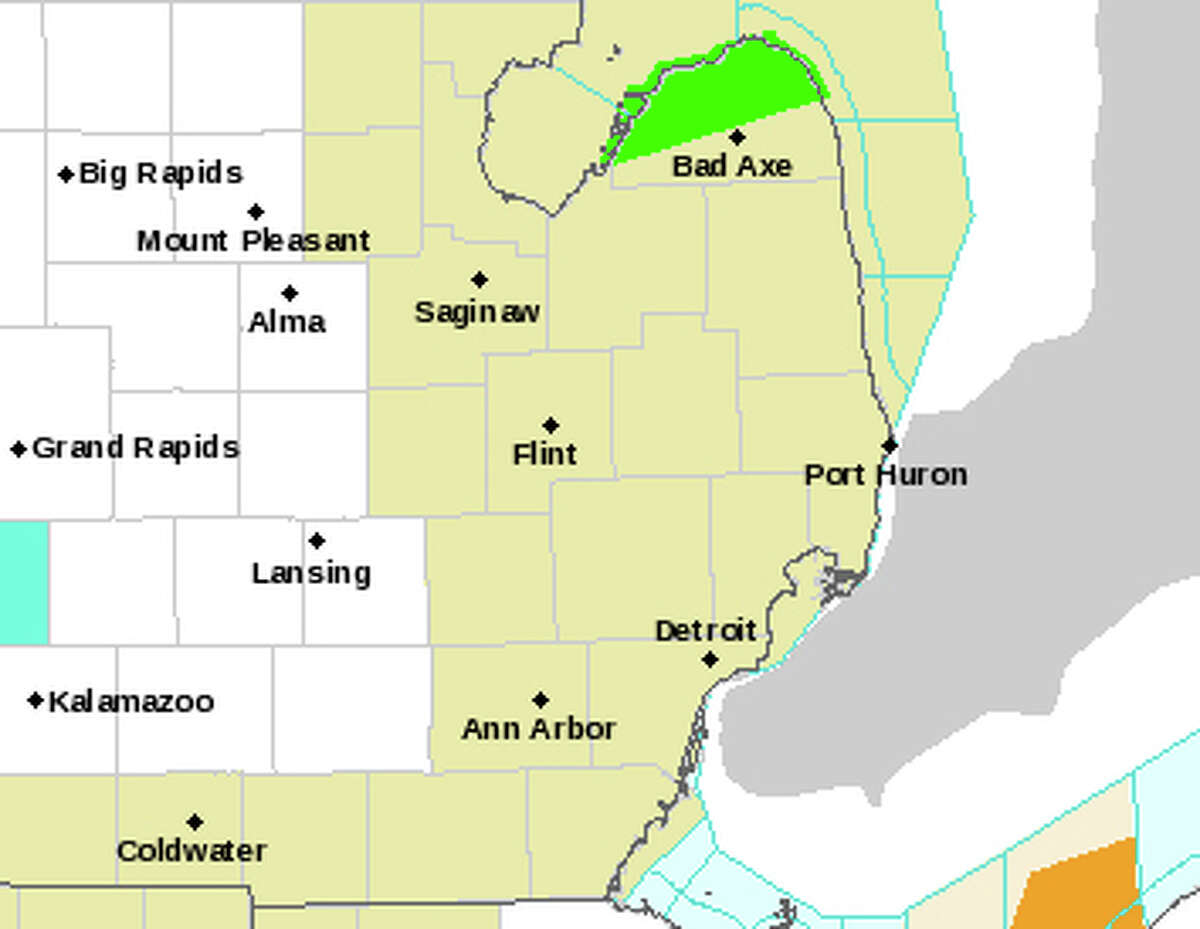 A National Weather Service map shows the location of a flood warning in Huron County early Sunday afternoon. (National Weather Service/Courtesy Photo)