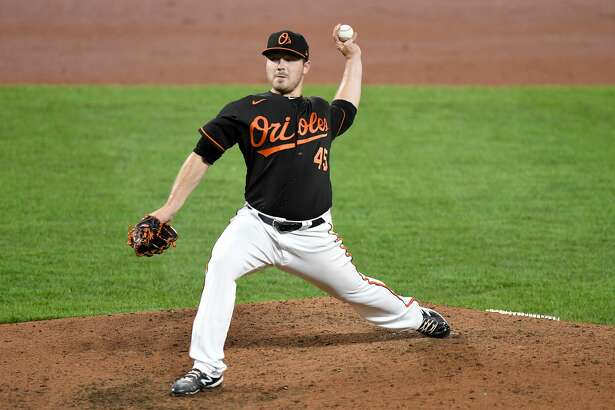 Bullock Creek alum Keegan Akin delivers a pitch during his Major League Baseball debut for the Baltimore Orioles on Friday, Aug. 14, 2020 against the Washington Nationals in Baltimore, Md.