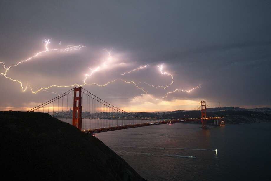Gil Wimmer of Fairfax captured this shot of lightning sparking over the Golden Gate Bridge during a storm on Aug. 16, 2020. Photo: Gil Wimmer/ Courtesy