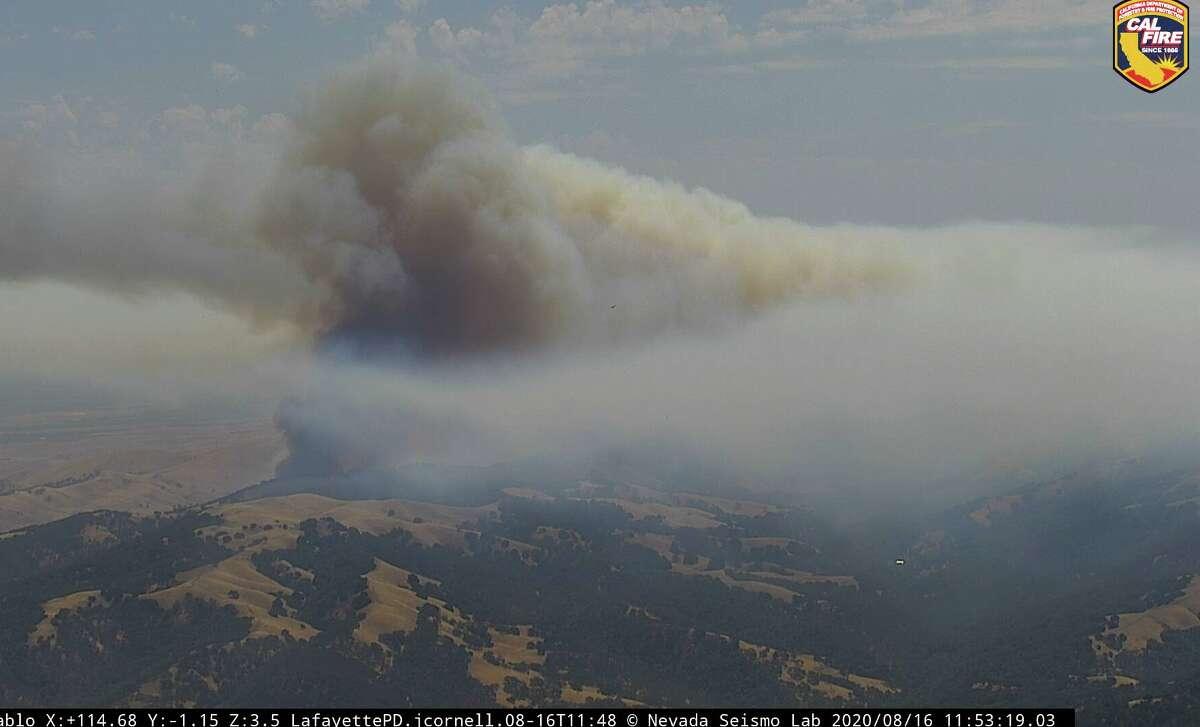 A fire burns near Mt. Diablo on Aug. 16, 2020.