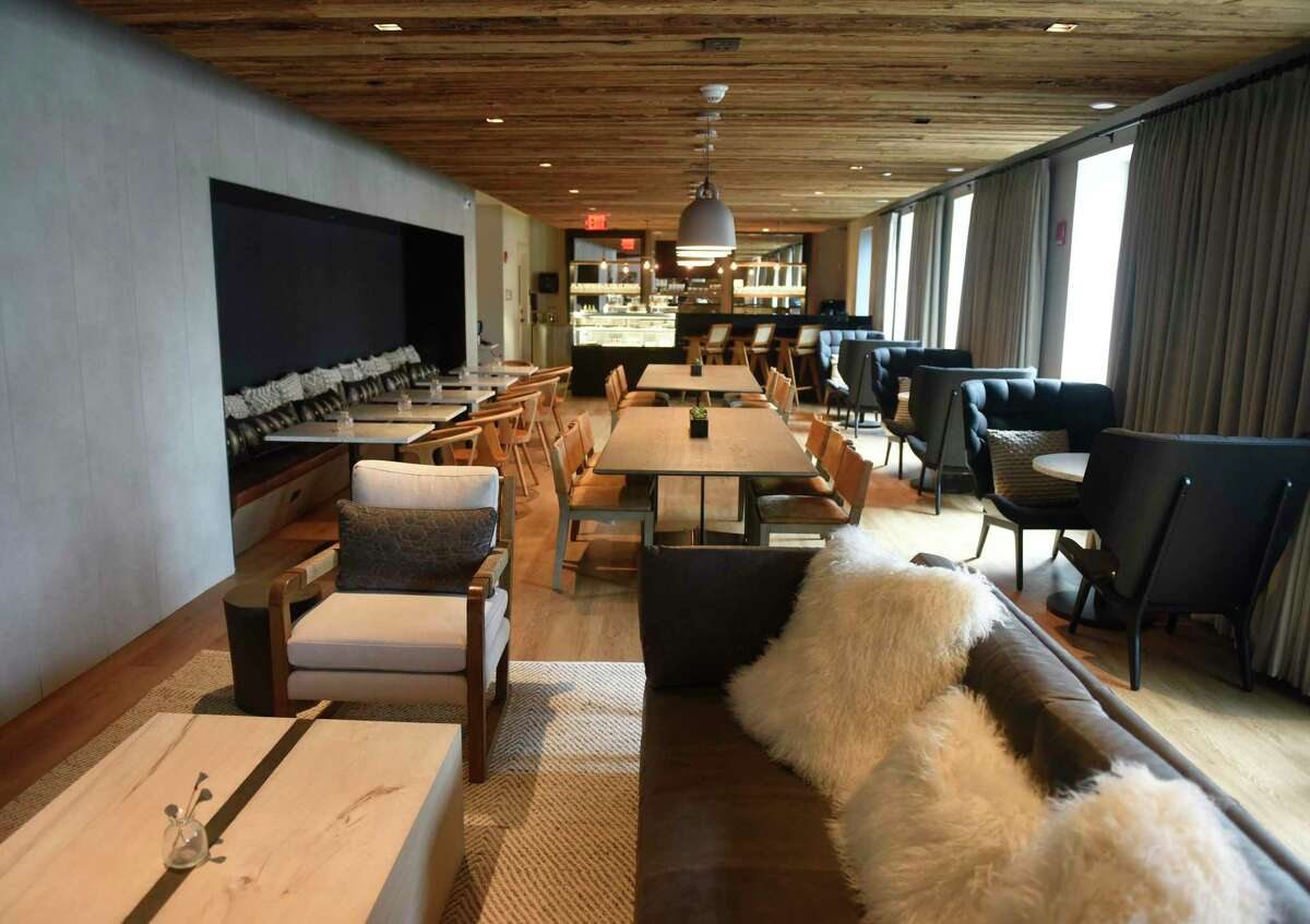 The lobby of The Lloyd boutique hotel in Stamford, Conn. Thursday, Aug. 13, 2020. At the location of the former Hotel Zero Degrees, the Hilton-owned three-star boutique hotel sports a swanky vibe and upscale amenities.