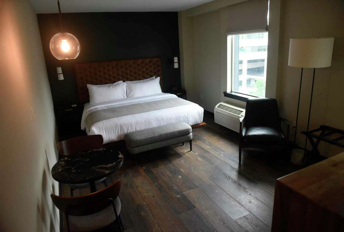 A deluxe room at The Lloyd boutique hotel.