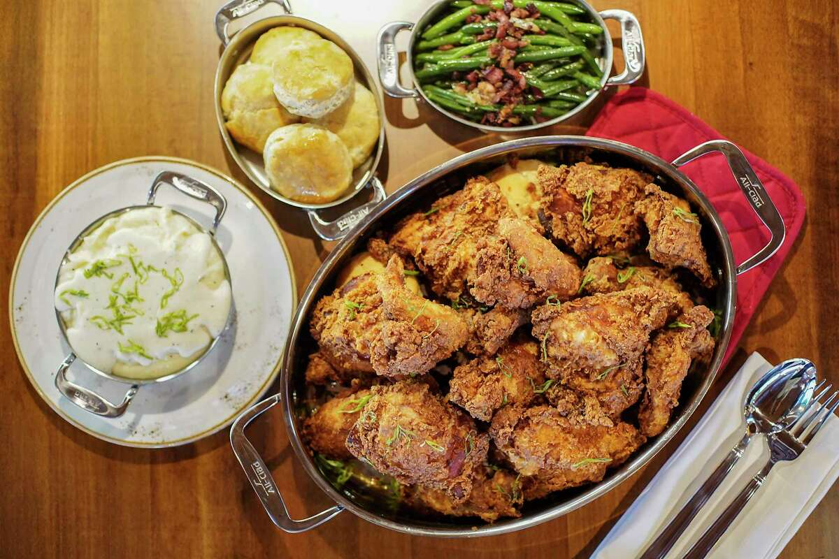 Fried chicken with mash potatoes, biscuits and green beans at Killen's in the Heights.