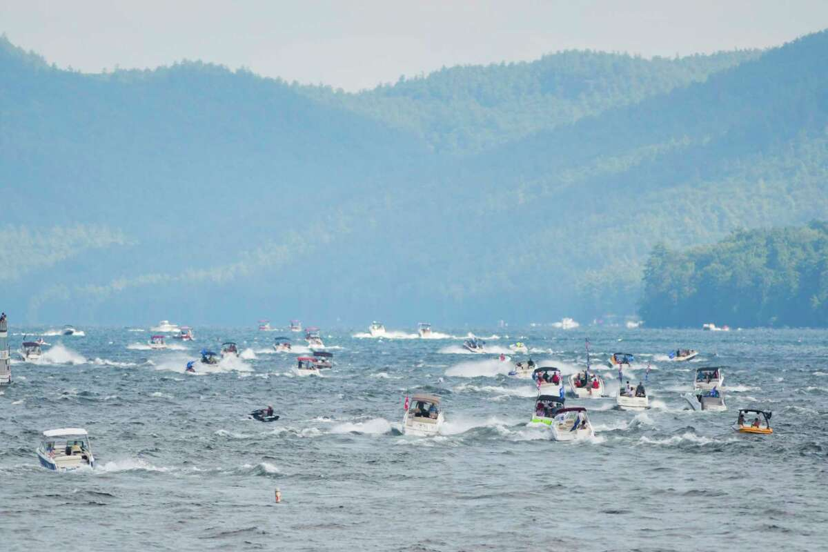 Supporters of President Donald Trump pilot their boats north on Lake George after motoring around the south end during a boat parade on Sunday, Aug. 16, 2020, in Lake George, N.Y. The parade made its way down the lake along the east shore and then returned up the lake on the west shoreline. (Paul Buckowski/Times Union)