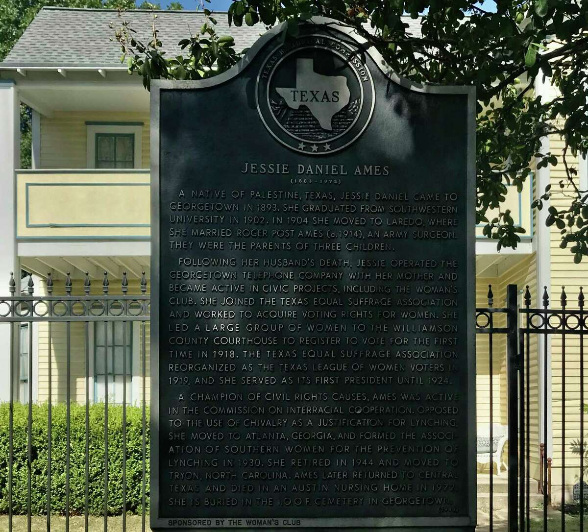 The Ames House and historical marker are a few blocks south of the Williamson County Courthouse in downtown Georgetown.