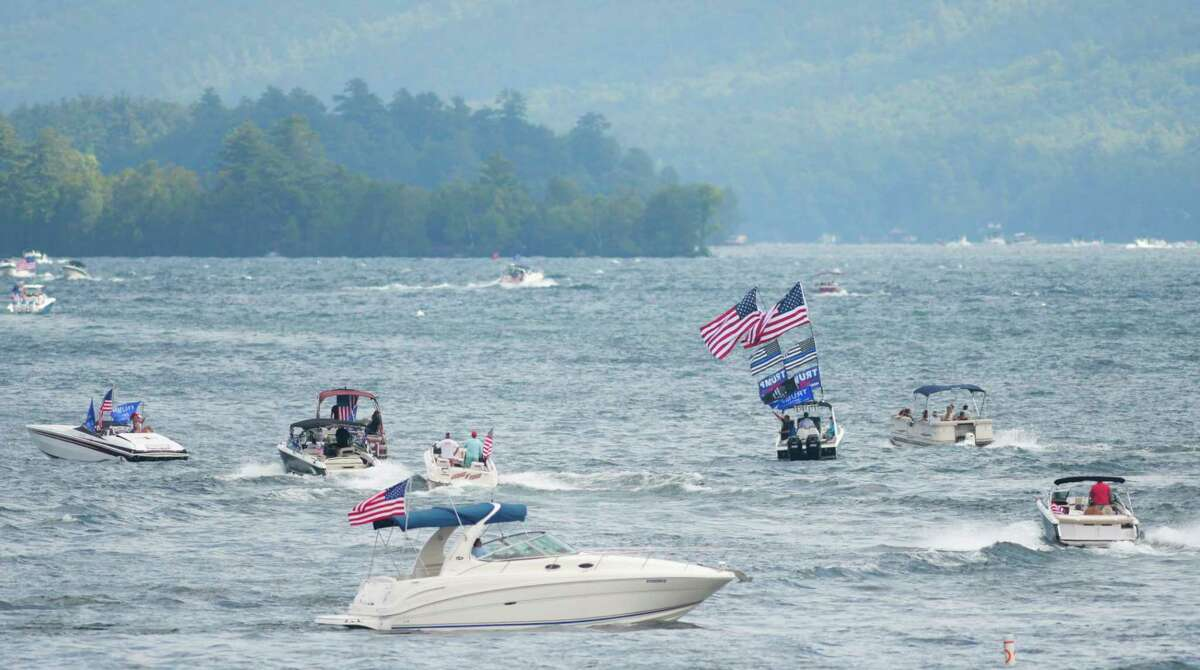 Supporters of President Donald Trump pilot their boats around the south end of Lake George as they take part in a boat parade on Sunday, Aug. 16, 2020, in Lake George, N.Y. The parade made its way down the lake along the east shore and then returned up the lake on the west shoreline. (Paul Buckowski/Times Union)