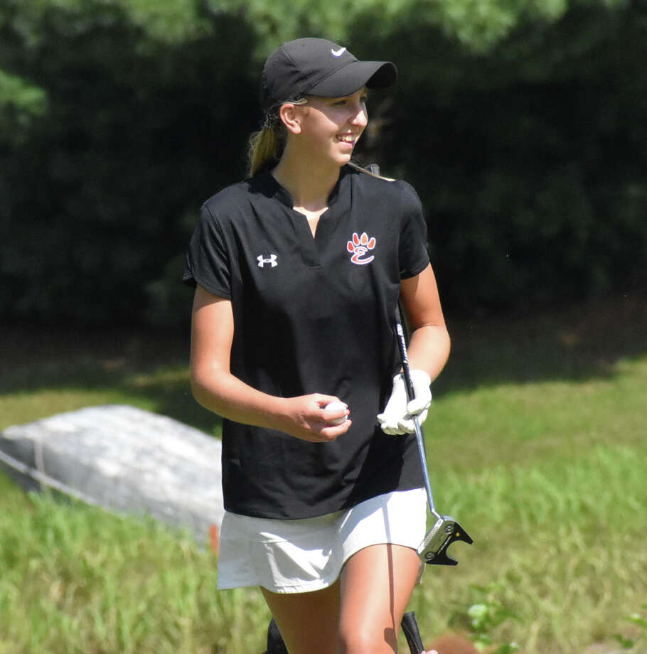 Edwardsville's Grace Daech smiles as she walks off the green during her round at Rolling Hills Golf Course in Godfrey. Photo: Matt Kamp, The Intelligencer