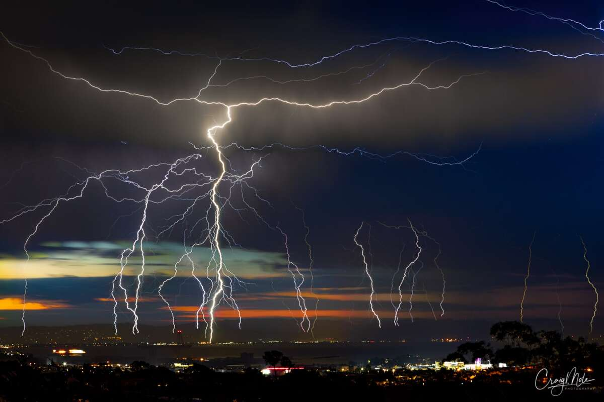 A lightning storm flashes across the Bay Area sky on Aug. 16, 2020.