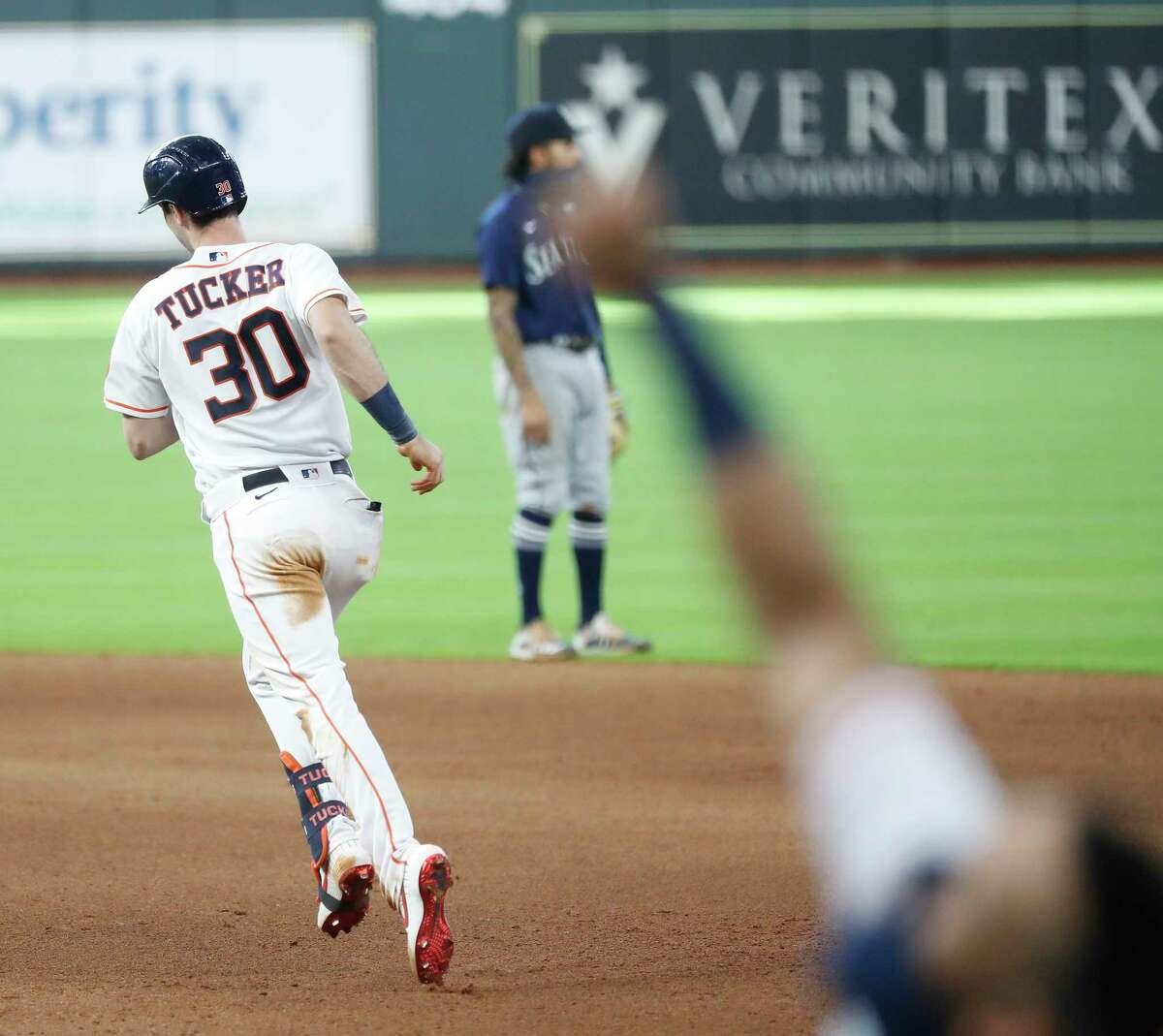 Houston Astros Kyle Tucker (30) runs the bases after hitting a walkoff home run during the ninth inning of an MLB baseball game at Minute Maid Park, Sunday, August 16, 2020, in Houston. Astros win 3-2 against the Seattle Mariners.
