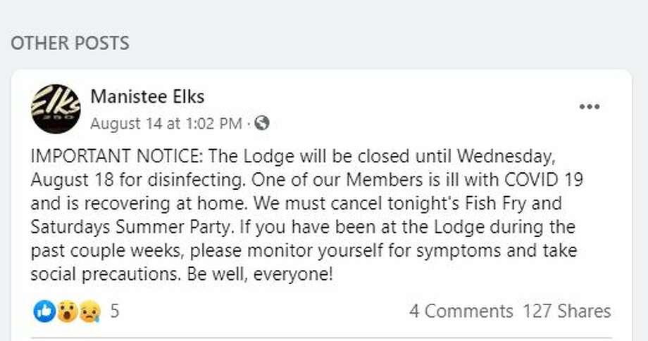 Manistee Elks Lodge Facebook post Photo: Manistee Elks Lodge Facebook Post