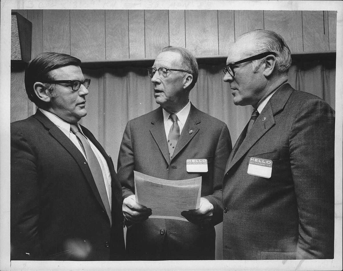Albany Lions Club, president, James Gallagher; Executive Director Carroll W. Greenman and Everett H. Watson, president. April 1971 (Jack Pinto/Times Union Archive)