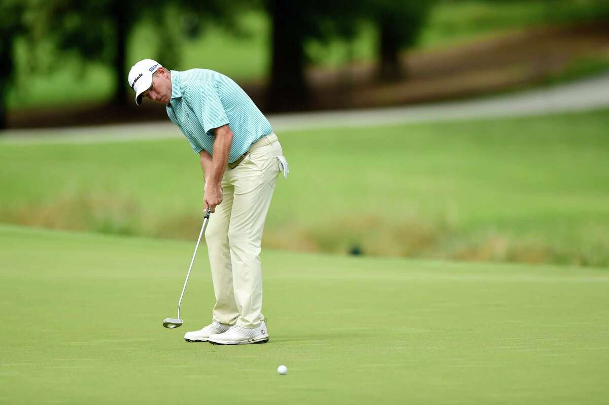 GREENSBORO, NORTH CAROLINA - AUGUST 16: Jim Herman of the United States putts on the seventh green during the final round of the Wyndham Championship at Sedgefield Country Club on August 16, 2020 in Greensboro, North Carolina. (Photo by Jared C. Tilton/Getty Images)