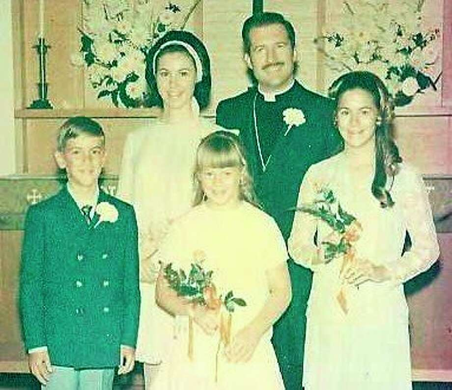 The coupleon their wedding day in 1970.