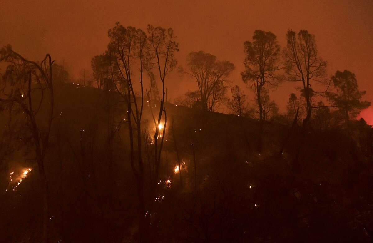 Trees and vegetation burn in the River fire near Salinas, Calif., Sunday, Aug. 16, 2020. (AP Photo/Nic Coury)