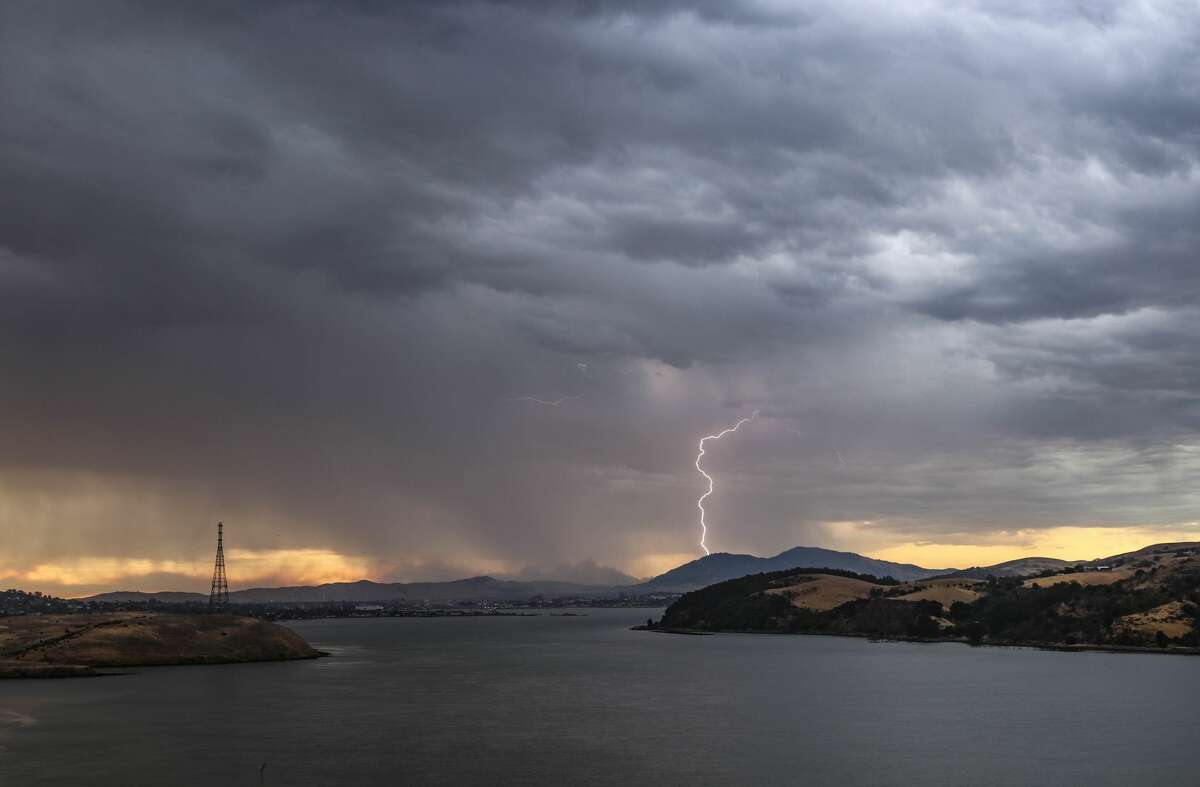 Lightning strikes lit up the Bay Area on Aug. 16, 2020, amid severe thunderstorms.