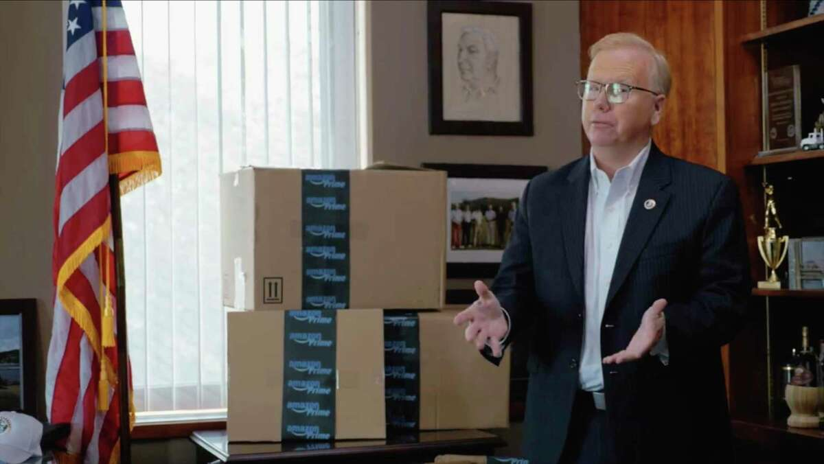 Photographs from a video, released by Mayor Mark Boughton where he touts the hat city as the right location for Amazon's new headquarters, citing Danbury as Connecticut's safest city, Connecticut's most diverse city, and the best city in Connecticut to do business. Thursday, September 14, 2017.