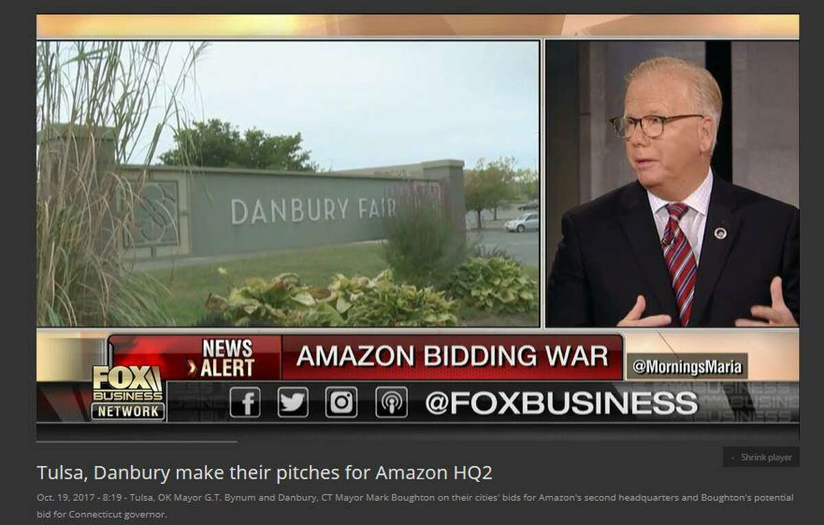 Danbury Mayor Mark Boughton, on a Fox business show with host Maria Bartiromo, Thursday morning, Oct. 19, 2017, discussing the city's bid for Amazon's second world headquarters, and his run for governor in 2018.