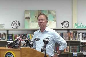 Gov. Ned Lamont and state Education Commissioner Miguel Cardona joined Winchester Public Schools Superintendent Melony Brady-Shanley, Mayor Candy Perez and other state, town and school officials for a round table discussion and press conference Tuesday. Brady-Shanley and a school team are reopening the public schools Aug. 31.