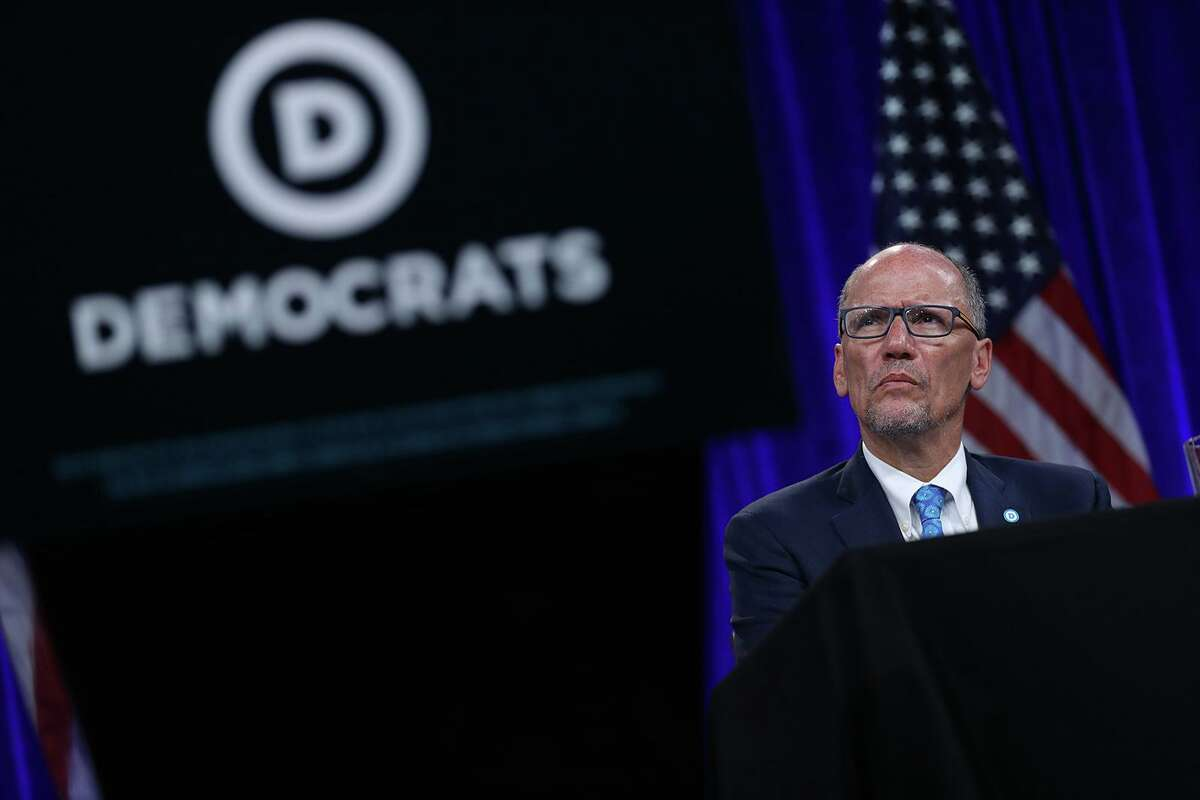 Democratic National Committee chairman Tom Perez looks on during the Democratic Presidential Committee (DNC) summer meeting on Aug. 23, 2019 in San Francisco, Calif. (Justin Sullivan/Getty Images/TNS)