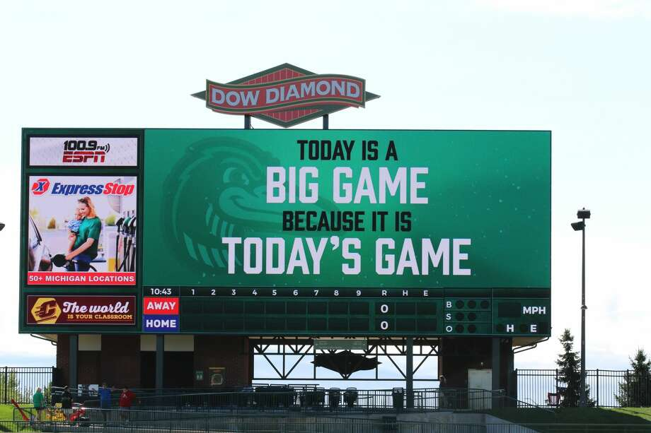 Friday's Dow vs. Saginaw football game, and two other games later in the season, will be livestreamed for public watch parties on the huge video board at Dow Diamond. Photo: Photo Provided/Mark Craig