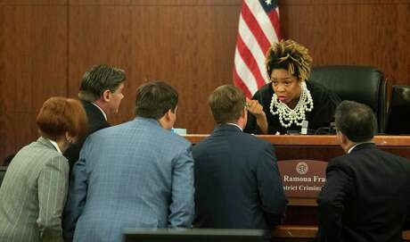 Judge Ramona Franklin talks to the attorneys in the 338th District Criminal Court on Thursday, Jan. 9, 2020, in Houston.