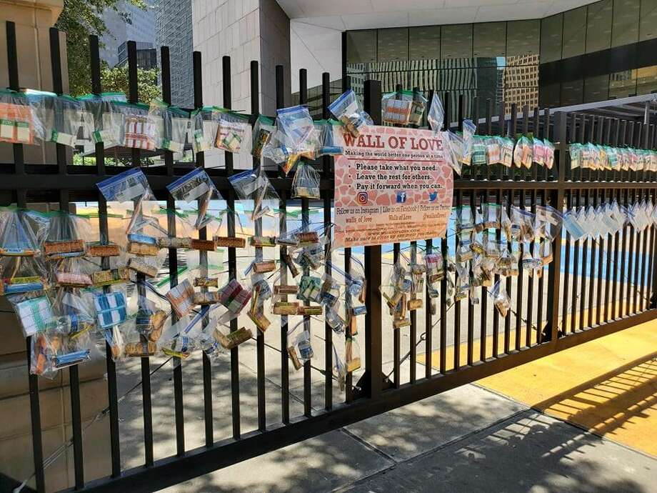 Walls of Love was created by founder Holly Jackson with the mission of providing basic necessities within regions of poverty in various cities including Houston. >>>These photos depict the wall located in downtown Houston near City Hall that went up last week. Photo: Courtesy: Walls Of Love