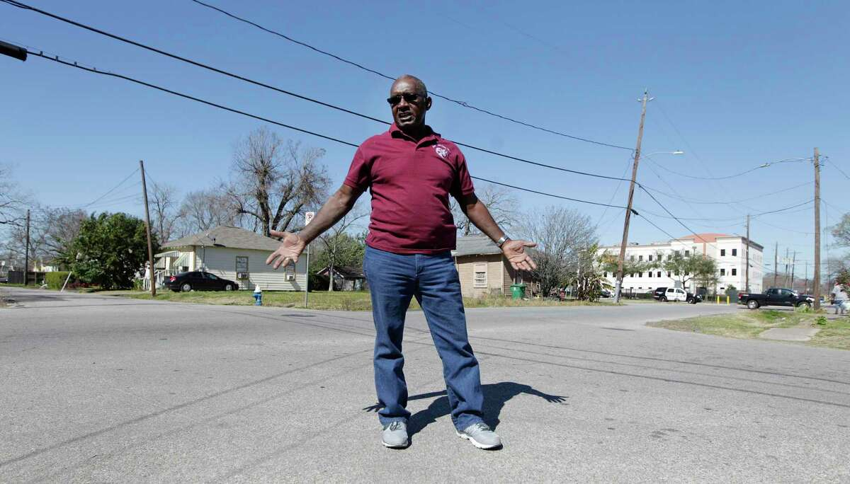 Audry L. Releford, whose mentally ill son Kenneth was shot and killed by a police officer in 2012. Releford stands in the intersection where he was shot Thursday, Feb. 11, 2016, in Houston. The same officer was involved soon after in another shooting and the incident has sparked a wrongful death case against HPD that challenges the quality of HPD's reviews of all officer involved shootings from 2009-2012 under outgoing Chief McClelland. ( Steve Gonzales / Houston Chronicle )