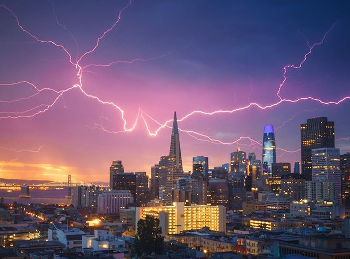In this 2020 photograph, @heyengel photographed a lightning storm over San Francisco.