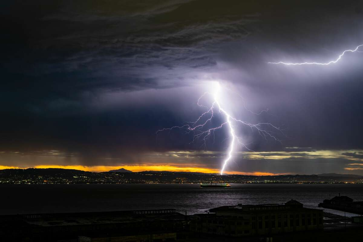 Bennett Ng shot this photo of a lightning bolt over San Francisco at 5:47 AM on Sunday.