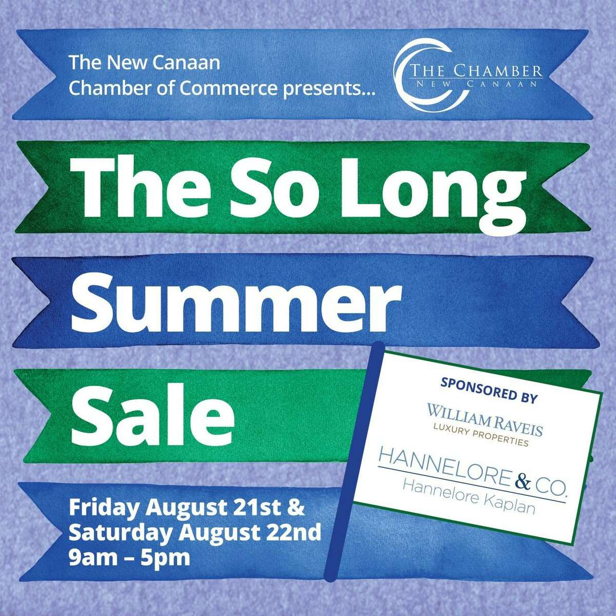 """The New Canaan Chamber of Commerce is going to hold a """"So Long To Summer Sale,"""" in downtown New Canaan this Friday, Aug. 21, and Saturday, Aug. 22, from 9 a.m. to 5 p.m. The event will be modified with hand sanitizer, face masks, and six-foot social distancing, to prevent the spread of COVID-19, a disease, amid the coronavirus pandemic. The virus causes the disease."""